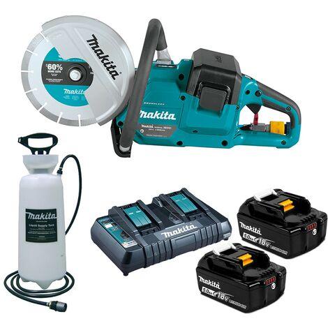 "Makita DCE090ZT2X1 18v / 36v 9"" Brushless Power Disc Cutter Saw 2 x 5.0ah+ Water"