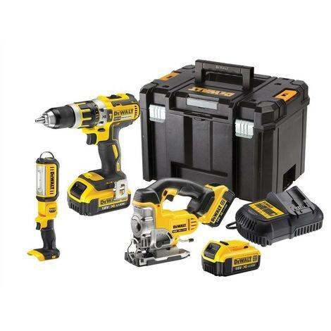 Dewalt DCK364M3T XR 18V Combi Drill, Jigsaw, LED Torch - 3 x 4.0ah Batteries
