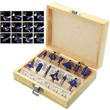 """Trade 12 Piece TCT Router Bit Set Cutter 1/4"""" Shank Tungsten Carbide Wooden Case"""