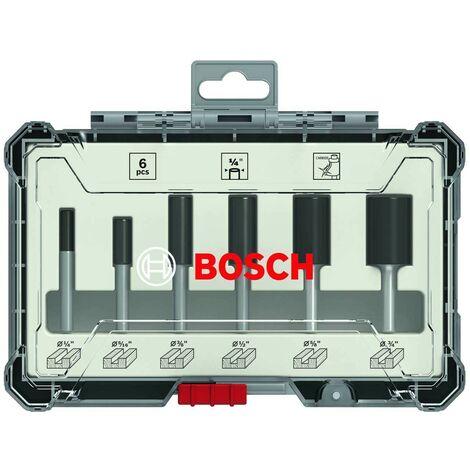 "Bosch 2607017467 6 Piece Router Bit Set Straight 1/4"" Shank 50 54 60mm + Case"