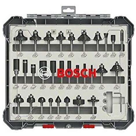 """Bosch 2607017476 30 Piece Mixed Router Bit Set Straight 1/4"""" Shank Cutter"""