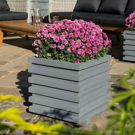 Rowlinson Sorrento Grey Square Planter Wooden Raised Flower Bed Pot Patio