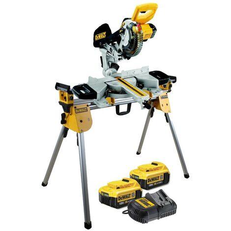 Dewalt DCS365M2 18v Cordless XPS 184mm Mitre Saw, 2 x 4.0ah + DE7033 Leg Stand