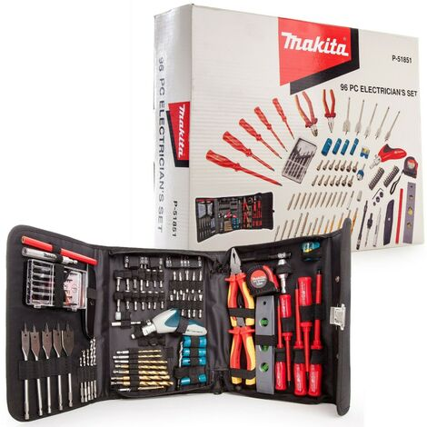 Makita P-51851 96 Piece Electricians Drill Screwdriver Tool Kit Pouch 1000W Rate