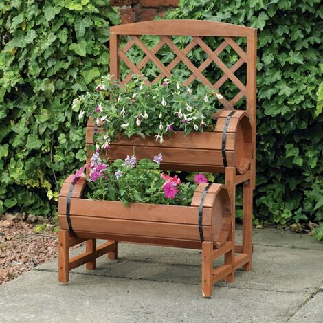 Kingfisher Twin Barrel Garden Wooden Flower Planter & Trellis