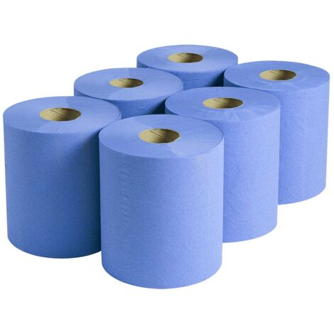 Centre-feed Blue Roll Paper Blueroll Hand Towel 2-Ply 400 Sheet 100m Pack of 6