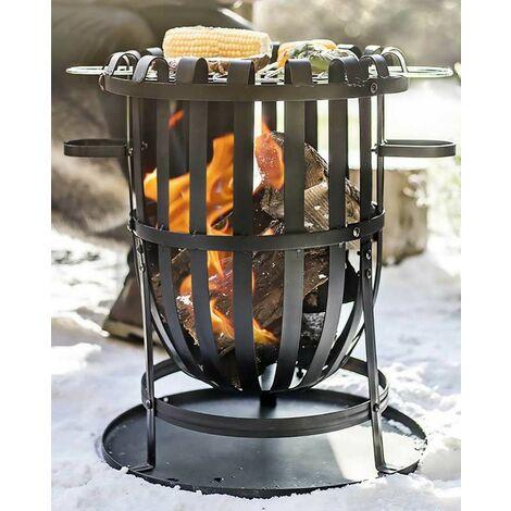 La Hacienda 56043 Vancouver Fire Pit Basket Bowl BBQ Grill Black Steel