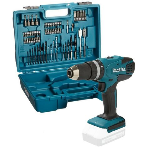 Makita HP457D 18v G-Series Lithium Combi Hammer Drill + 74 Screwdriver Bit Set