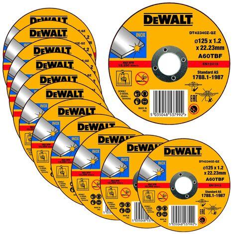 """Dewalt 125mm 4.5"""" 1.2mm Thin INOX Metal Cutting Disc 22mm Bore Flat Disc x 12"""
