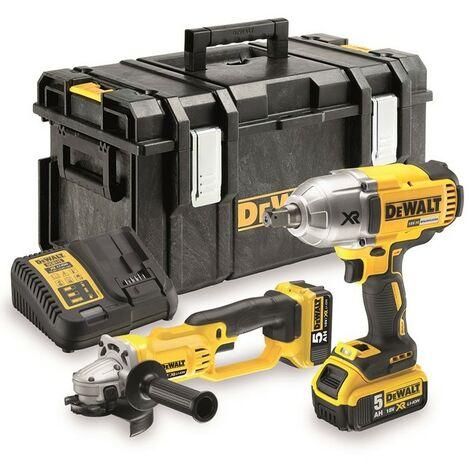 Dewalt DCK269P2 XR 18V DCF899 Impact Wrench + DCG412 Angle Grinder - 2 x 5ah Bat