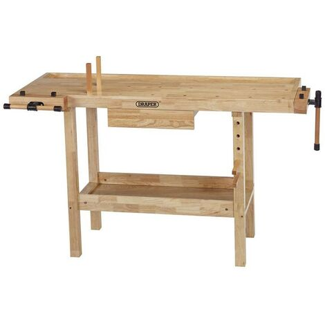 Draper Heavy Duty Hardwood Lacquered Carpenters Workbench Table with Vice 83440
