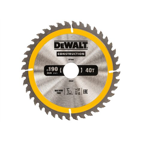 DeWALT DT1945 Construction Cordless Circular Saw Blade 190 x 30mm x 40T