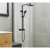 Square Black Thermostatic Dual Control Twin Head Shower Mixer Ultra Thin + Kit