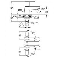 Grohe 20421 BauEdge Single Lever Pair Basin Pillar Taps Chrome 1/2 Inch 2042100M