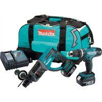 Makita DLX2025M 18v LXT 2 PC LXT Lithium Kit DHR202 SDS + DHP453 Combi Drill 4ah