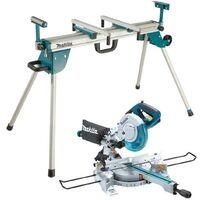 Makita LS0815FL 110v Sliding Compound Laser Mitre Saw 216mm + DEBWST06 Leg Stand