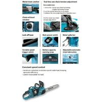 Makita DUC353 Twin 18v / 36v LXT Cordless 35cm Chainsaw 2 x 6.0ah Batteries