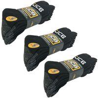x3 JCB 4 Pack of Site Work Boot Socks Reinforced Heel Toe Black Grey Size 6-11