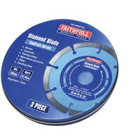 Faithfull FAIDBSET3C 115mm Segmented Diamond Grinder Blades x3 Pack XMS21DBLADE3