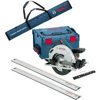 Bosch 18v GKS 18V-57 G 165mm Cordless Circular Saw + LBoxx + 2x 1.6m Guide Rails
