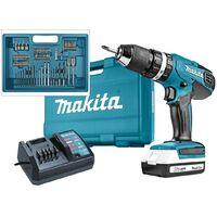 Makita HP457 18v Lithium Combi Hammer Drill - Includes 74 Screwdriver Bit Set