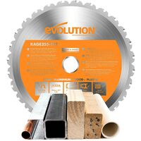 Evolution RAGE R255 Multi Purpose Carbide Tipped Saw Blade 255mm Steel Wood