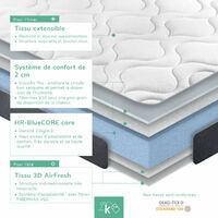 Matelas mousse Sense   Deux faces : viscoélastique / 3D AIRFRESH   Avec fibre hypoallergénique   Respirant   Réversible Hauteur: ±16cm 140 x 190 cm