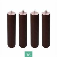 Pieds ronds en bois - Fil métrique 10 (1 cms) Couleur Wengé - 1 pièce de 35 cm