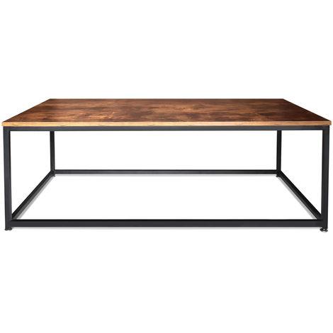 Mesa de café de estilo industrial mesa de café de acero y madera de diseño moderno