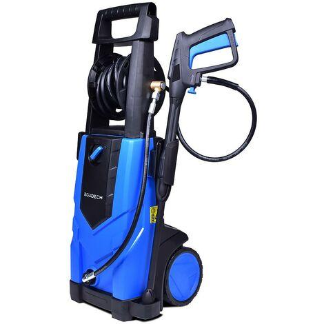 BOUDECH - ADVANCED 2500 - Lavadora eléctrica de alta presión 2500W Max 180Bar 500L/h con carrete de manguera de alta presión de 5MT, función de detergente y accesorio para limpiar el suelo.