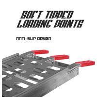 1x Rampa de carga capacidad de carga mxima de 500 kg para coches y motos de aluminio con una y una longitud maxima de 2,3 toneladas. Equipado con soportes de apoyo ultra resistentes y cinturones de seguridad.
