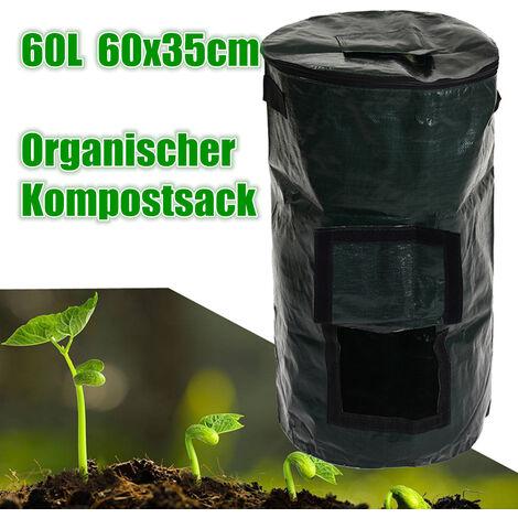 60L Couvert Composter Organique Déchets Convertisseur Poubelles Compost Stockage Jardin Approvisionnement