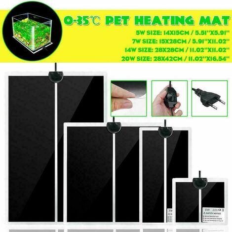 Chauffage électrique pour animaux de compagnie Reptile Mat Couveuse Incubateur Contr?le de température réglable Chauffage PET Pad Chauffe-chaleur Couverture chauffante EU Plug AC220V (7W EU Plug)