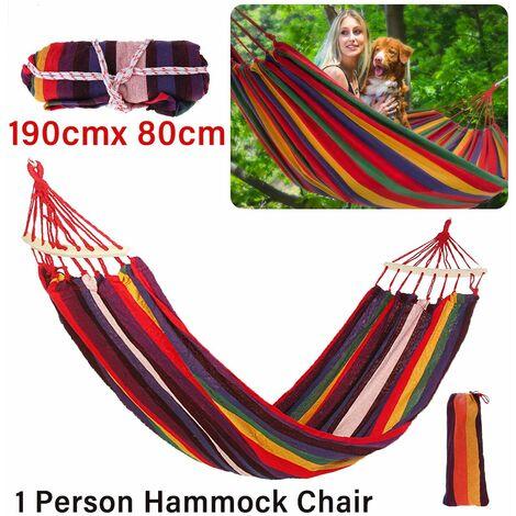 Hamac en toile portable voyage en plein air chaise balan?oire en bois camping lit suspendu (1 personne 190 cm x 80 cm)