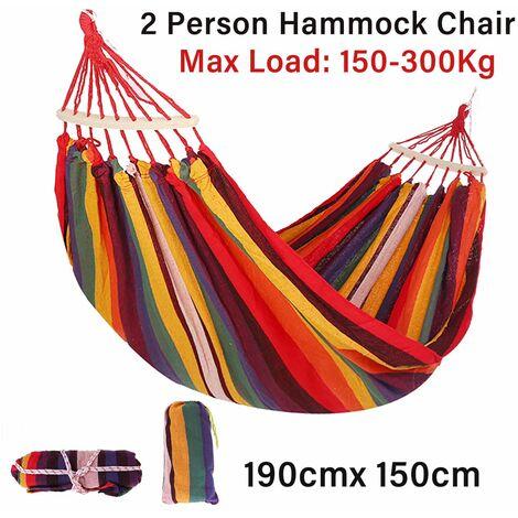 Hamac de toile portable voyage chaise balan?oire en bois en plein air camping lit suspendu (190*150cm)