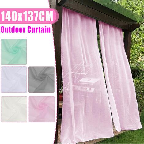 140x137CM Rideau Fenêtre Extérieure Occultant Drapé Imperméable Patio Jardin Mariage (blanc)