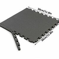 8 pièces tapis de mousse Eva tapis de sol souples carreaux de sol de gymnastique yoga exercice tapis de jeu imbriqué (noir 30 * 30 cm)