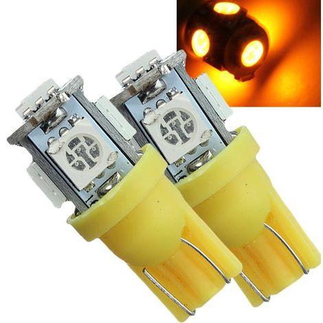 10x W5W T10 194 168 5 LED Ampoule Voiture Lampe Intér Feux Clignotant 5050 SMD Ambre Jaune 12V