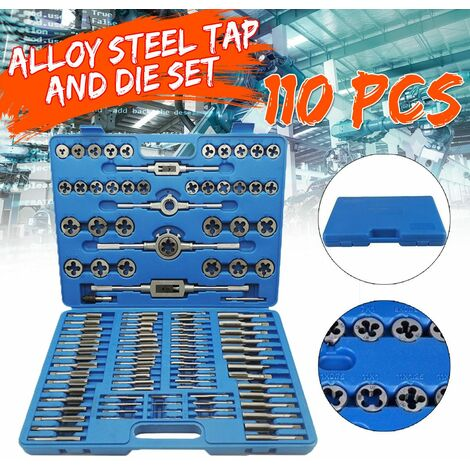 110 pièces métal métrique robinet main vis filetage métrique prise robinet ensemble taraudage kit d'outils à main