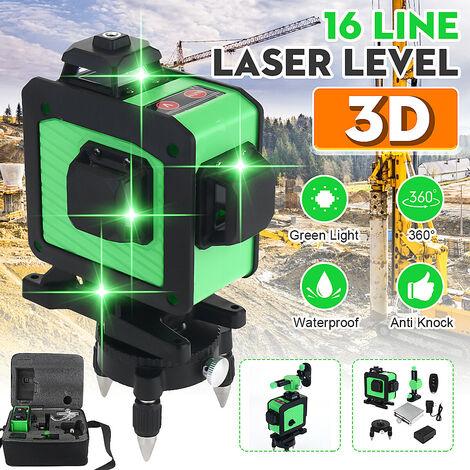 16 lignes 360 croix verticale horizontale 3D lumière verte niveau laser mesure auto-nivelante faisceau laser super puissant (prise UE)