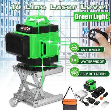360 ° croix 16 lignes niveau Laser faisceau de lumière verte autonivelant pour accrocher le carrelage mural de rénovation de décoration murale