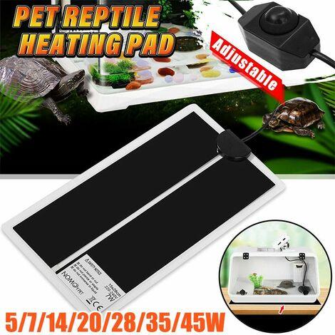 Chauffage électrique pour animaux de compagnie Reptile Mat Couveuse Incubateur Contr?le de température réglable Chauffage PET Pad Warm Heater Warmer Couverture AC220V (7W UK Plug)