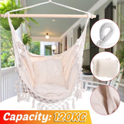 Chaise pivotante camping hamac chaise suspendue de jardin voyage pour enfant / adulte capacité de 120 kg (sans oreiller)