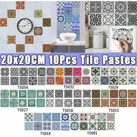 Creative Pate à Carreaux Cuisine Salle De Bains Décoration De Sol Stickers Muraux Autocollants Antidérapants Imperméables (10PCS TypeD (20x20cm))