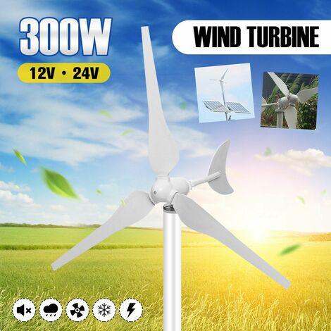 300W 3 lames 12V / 24V générateur d'éolienne en alliage d'aluminium vertical Kit économie d'énergie