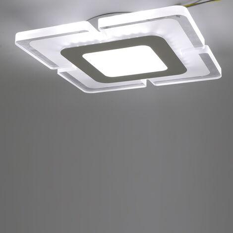 Plafonnier LED Dimmable Lustre Salon Cuisine Lampe Suspendue, Salle à Manger Moderne Encastré Acrylique Design Chic Lustres De Plafond éclairage pour Chambre AC 110V-220V (Blanc)