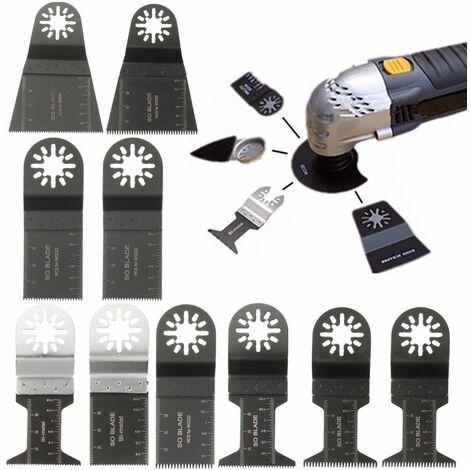 10Pcs Jeu Lames Scie Outils Multifonctions Oscillants pour Fein Multimaster Bosch Einhell Makita