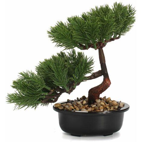 15-23cm pin bonsa? en pot jardinière artificielle plante décoration jardin maison (vert foncé)