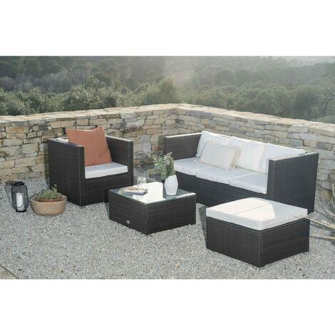 KieferGarden - Ensemble de meubles de jardin et terrasse, 5 places, Marron rotin synthétique, modulaire