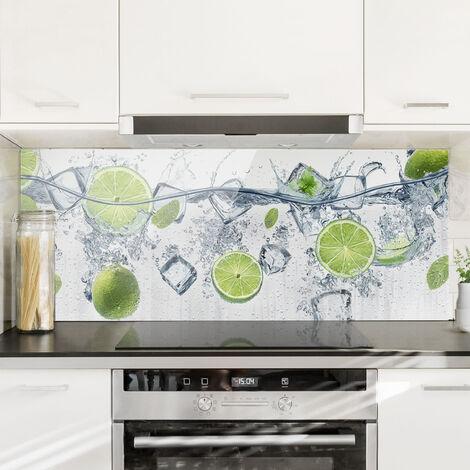 Spritzschutz Glas - Erfrischende Limette - Panorama Quer Größe HxB: 40cm x 100cm